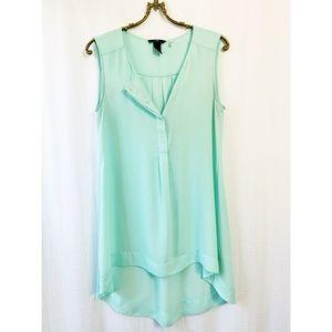 🌸2/$30 Sheer mint sleeveless hi-lo tunic
